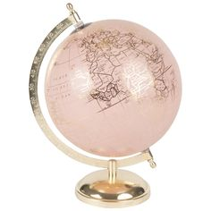 Pink and Gold Metal Globe Clemence Rosy