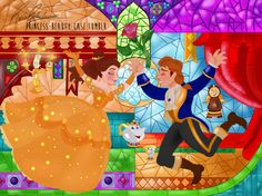 This is my drawing of Disney's the Beauty and The Beast! As many of my drawings, this one is based on Rapunzel's wall paintings illustrated by Claire Keane, and it's also based on the stained glass of the movie The Beauty and The Beast! Arte Disney, Disney Fan Art, Disney Love, Disney Magic, Disney Artwork, Disney And Dreamworks, Disney Pixar, Disney Parks, Disney Drawings