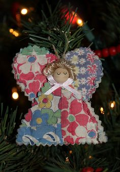 sweet angel ornament made from family quilt