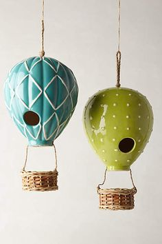 A bird house that looks like a hot air balloon.