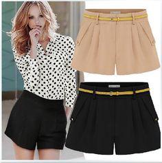 2013 nova moda plus size 2xl mulheres escritório casuais calças curtas doces contraste de cor pantskirt ladies 'culottes skorts $11,89-13,89