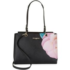 Karl Lagerfeld Paris Floral Leather Tote ($201) ❤ liked on Polyvore featuring bags, handbags, tote bags, black floral, leather tote handbags, handbags totes, leather hand bags, man bag and genuine leather handbags
