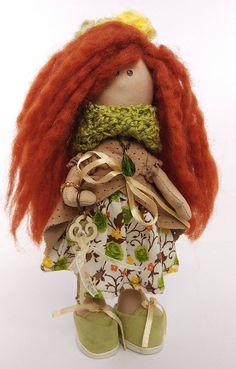 Fairy Mira, Luxury Handmade doll, NewYear or B-day gift. Height: 21 Centimeters Materials: wool, acryl, suede, staple, Gabardine fabric, Holofayber