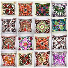 Indian #suzani ethnic vintage cushion cover covers #embroidery #mirror animal 16x, View more on the LINK: http://www.zeppy.io/product/gb/2/141757525986/