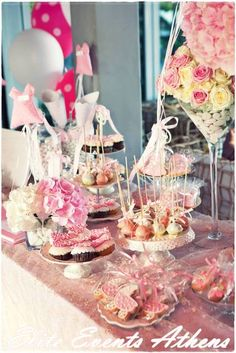 Candy/Sweets/Dessert, dresses, dancing, ballet, baby girl, white, pink Baptism Party Ideas | Photo 32 of 53