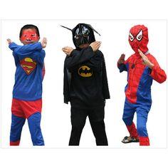Fancy Super Hero Style Clothing Spiderman Superman Batman Zorro Cosplay Wear Kids Halloween Party Clothes
