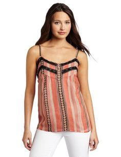 Twelfth St. by Cynthia Vincent Women's Lace Insert Camisole, Bow And Arrow, Small $198.00