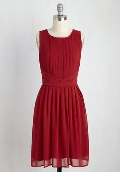 One Moment, Pleats Dress in Cranberry - Solid, Daytime Party, Valentine's, Sleeveless, Woven, Good, Mid-length, Red, Fit & Flare, Party