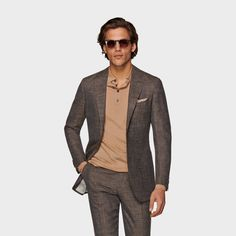 Suit Supply, Brown Suits, Slim Fit Jackets, Fit 30, Fitted Suit, Long Sleeve Polo, Mother Of Pearl Buttons, Havana, Mens Suits