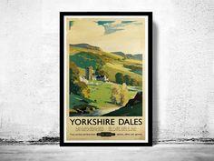 Vintage Poster of Yorkshire Dales England  1920 Tourism poster travel