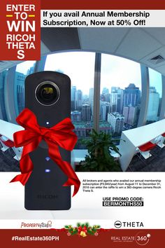 Don't Miss Your Chance to Win 360-Degree Camera Ricoh Theta S! - http://www.propertyasia.ph/newsroom/2016/10/13/dont-miss-your-chance-to-win-360-degree-camera-ricoh-theta-s/ #RealEstate360PH #raffle #RicohThetaS