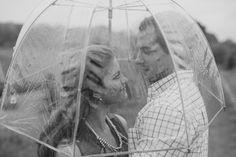 rainy engagement photos
