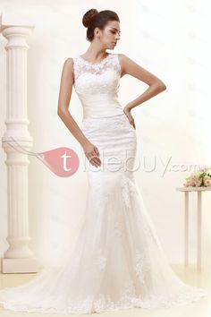 Gorgeous Trumpet/Mermaid Chapel Train Lace Taline's Wedding Dress- For more amazing finds and inspiration visit us at http://www.brides-book.com