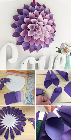 You are going to love to learn to make a gorgeous Paper Dahlia Wreath and we have plenty of inspiration and a video tutorial to show you how. Paper Flowers Craft, Paper Crafts Origami, Giant Paper Flowers, Flower Crafts, Diy Flowers, Diy Paper, Paper Flower Wall, Felt Flowers, Tissue Paper