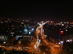 Bucharest by night, view from the 22nd floor of the InterContinental Hotel.