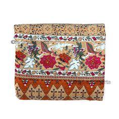 Queen Kantha Quilt Indian Bedding Handmade Bedspread Cotton Throw Bedcover X021 #Handmade #Kantha