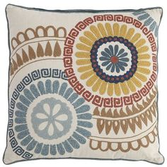 Crewelwork is a type of crochet embroidery using yarn and a variety of stitches to form a design. In this case, it's a tribal Suzani pattern in bold, earthy tones on an awesome pillow. Hello, crewel world. Goodbye, boring.