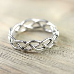 Silver Wire Ring in Celtic Braid - Entwined for Eternity - For him and her