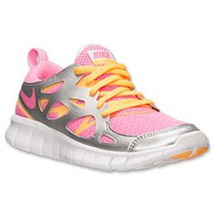 ed38dc2b2f7f com cheap nike shoes Girls Grade School Nike Free Running Shoes Pink Glow  Atomic Mango Metallic Silver 477701 600