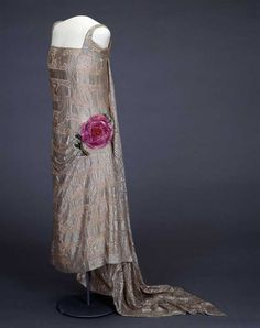 Evening Dress, E.M. Clapham: ca. 1920's, lace and metal thread embroidery, flower of silk velvet.