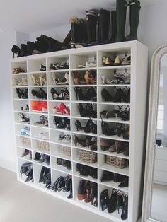 Alison's Sophisticated and Posh London Home House Tour | Apartment Therapy - simple but effective shoe storage