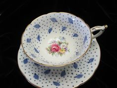 Gorgeous Paragon Open roses and Cobalt Blue Decor by Cupsofthepast, $35.00