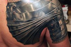 Realistic Looking Steel Mens Shoulder Armor Tattoo