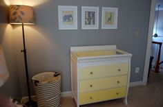 Yellow and gray nursery, refinished changing table, ombré drawers, elephants, giraffes, Etsy prints, chevron Project Nursery - DSC_0435