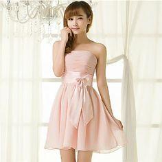 A-line Strapless Short/Mini Chiffon Bridesmaid Dresses – USD $ 101.99