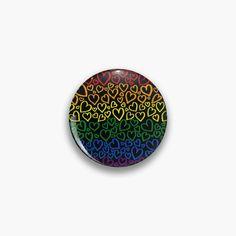 'Gay Pride Heart Pattern' Pin Button by JustGottaDraw One Design, Custom Design, Pride Merch, Pin Button, Badge Design, Cool Pins, Heart Patterns, Pin Badges, Gay Pride