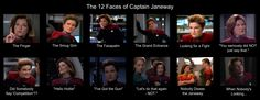 The 12 faces of Kathryn Janeway - I had to make this, there are just so many funny faces in this series!