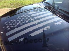 Distressed American Flag Hood Decal fits Dodge Ram