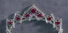 Vintage Tiara/Necklace (off frame), France (1953); made by Cartier; rubies, diamonds, platinum, gold.