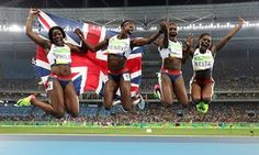 Unbridled joy for Team GB's Darryl Neita, Asha Philip, Desiree Henry and Dina Asher-Smith after they took bronze in the women's 4x100m relay with a national record time