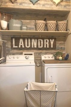 Small laundry room ideas - farmhouse laundry nook / laundry closet with apllet wall, laundry room shelves and farmhouse laundry baskets in a small farmhouse laundry nook. Easy DIY that you can do at home - easy DIY that looks hard but is EASY. Rustic Laundry Rooms, Small Laundry Rooms, Laundry Room Organization, Laundry Room Design, Laundry Organizer, Laundry Room Wall Decor, Diy Laundry Baskets, Decorate Laundry Rooms, Shelving In Laundry Room