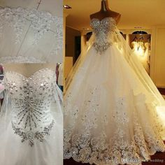 Wholesale 2015 Luxury Crystal Ball Gown Wedding Dresses Sweetheart Strapless Tulle Satin Backless Bridal Wedding Gowns With Long Big Cathedral Train, Free shipping, $330.65/Piece | DHgate Mobile