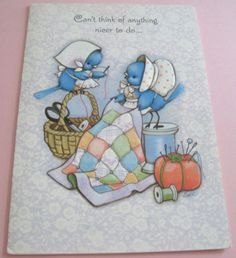 Unused-Vtg-Greeting-Card-Cute-Bluebirds-Sewing-a-Quilt