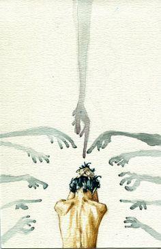""" Accusations by ElegantRage "" surrealista fotografia Illustration Design Graphique, Art Et Illustration, Dark Art Illustrations, Art Inspo, Art Sketches, Art Drawings, Art Du Croquis, Mental Health Art, Arte Obscura"