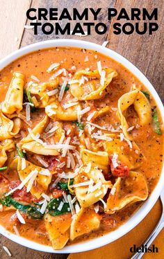 If You Aren't Making Creamy Parm Tomato Soup, You're Missing The Entire Point Of WinterDelish The creamiest tortellini soup you won't want to stop eating. Gourmet Recipes, Vegetarian Recipes, Dinner Recipes, Cooking Recipes, Healthy Recipes, Good Recipes, Healthy Soup, Popular Recipes, Creamy Tortellini Soup
