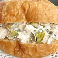 DILL PICKLE CHICKEN SALAD SANDWICHES. Must love pickles!! A fun twist to traditional chicken salad. Chicken & dill pickles in an ultra creamy dressing that has cream cheese in it. The best way to serve this is on a croissant roll 👌🏻 —————————————————- Tap 👉🏻 @togetherasfamilyblog and then click the blue link in my profile for the #recipe