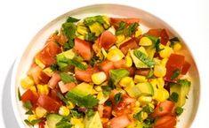 Tomato, Corn, and Avocado Salsa Recipe Fresh Tomato Recipes, Avocado Recipes, Raw Food Recipes, Appetizer Recipes, Cooking Recipes, Appetizers, Healthy Recipes, Fresh Corn Salad, Summer Corn Salad