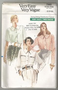 Vogue 7563 Sewing pattern 6 8 10 Misses loose fit blouse  uncut factory folded