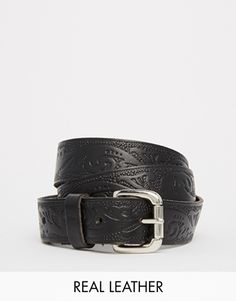 Black+&+Brown+Tooled+Leather+Belt