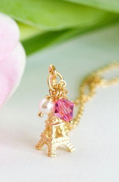 Charm Necklace Gold Plated Pink Crystal
