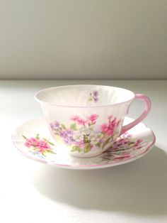 Antique Shelley English Fine Bone China Stocks Pattern Oleander Shape Teacup and Saucer Tea Party - Ca. 1940-1966