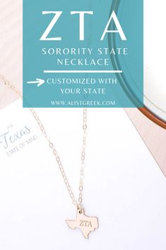 Remember that feeling of running home to Zeta Tau Alpha on bid day? Wear a reminder of that feeling and running home to your new sisterhood every day with this Greek Letter State Necklace. #zetataualpha #zta #zeta #ztaletters #state #necklace #californianecklace #texasnecklace #customjewelry #personalized #greekjewelry #sororityjewelry #sororityletters #bidday