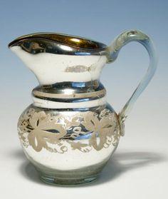 """""""Bauernsilber / Silberglas Sahnekännchen Böhmen um 1900"""""""