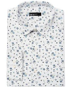 Bar Iii Men's Slim-Fit White Ground Floral Print Dress Shirt, Only at Macy's