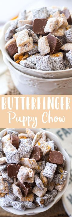 This easy puppy chow (muddy buddies) recipe is full of chocolate, peanut butter, and both Butterfinger Fun-Size Candy Bars and Butterfinger Peanut Butter Cup Minis! This Butterfinger Puppy Chow is the best party snack around! Puppy Chow Recipes, Snack Mix Recipes, Dessert Recipes, Snack Mixes, Chex Recipes, Dessert Ideas, Cooker Recipes, Yummy Recipes, Best Party Snacks