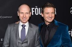 Actor Michael Keaton and producer Jeremy Renner arrive at the premiere of the Weinstein Company's The Founder at the Cinerama Dome on January 11, 2017 in Los Angeles, California